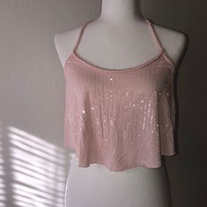 Abercrombie & Fitch Pink Flowy Crop Top
